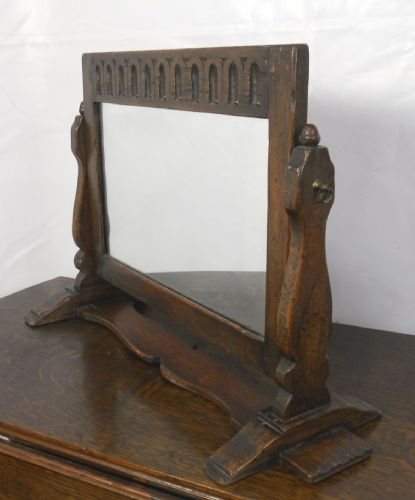 Oak Swing Dressing Mirror in Antique Jacobean Style